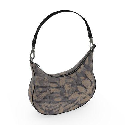 Night Forest Black Leather Curve Hobo Bag
