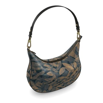 Night Forest Navy Leather Curve Hobo Bag