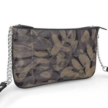 Night Forest Black Leather Pochette Double Zip Bag