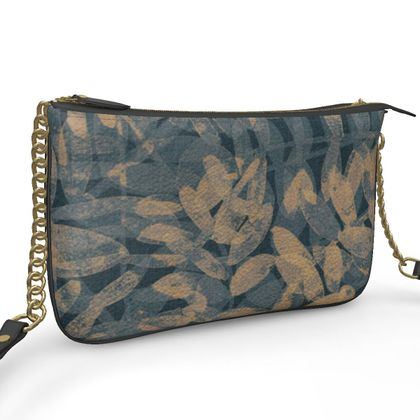 Night Forest Navy Leather Pochette Double Zip Bag