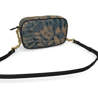Night Forest Navy Leather Camera Bag