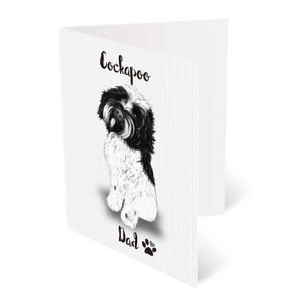 BLACK AND WHITE COCKAPOO FATHERS DAY CARD