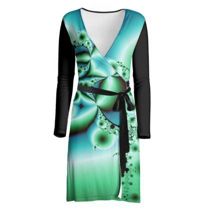 Wrap Dress, Green Fractals