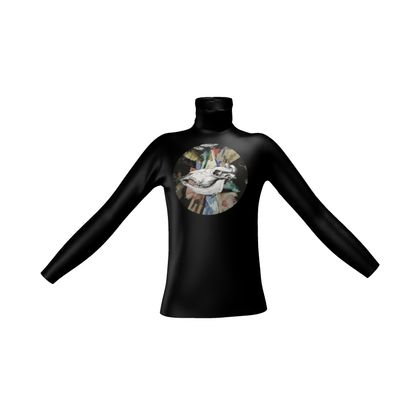 Mens Slim Fit Roll Neck - Cow Skull on Colourful Background