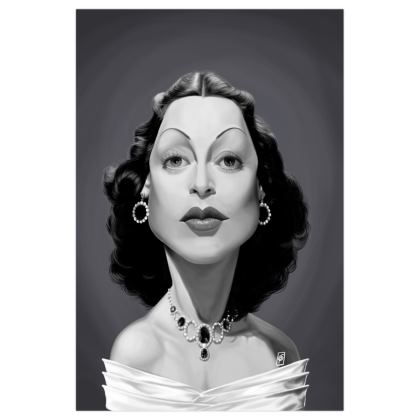 Hedy Lamarr Celebrity Caricature Art Print