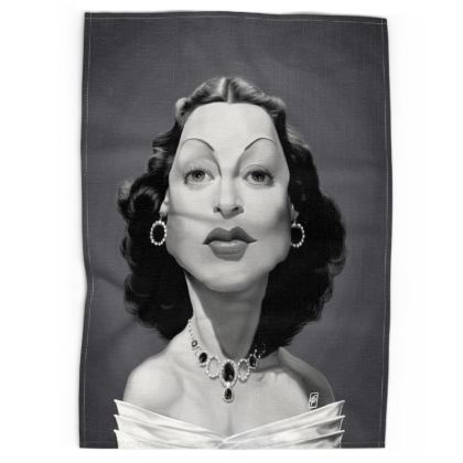 Hedy Lamarr Celebrity Caricature Tea Towels