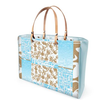 Large Patent Vinyl handle Strap bag Abstract Waves of structure