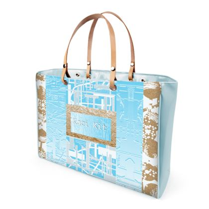 Large Patent Vinyl Strap Bag Abstract waves of structure
