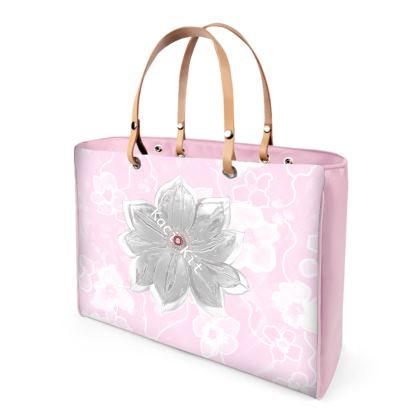 Large Leather handle strap bag Elemental Abstract Florals