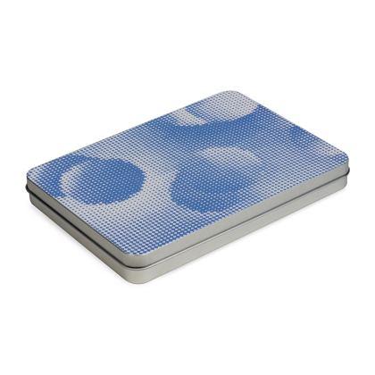Tin Box Hinge Lid - Endleaves of Art. Taste. Beauty (1932) Blue Remix