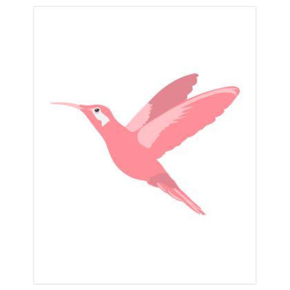 Blush Pink Hummingbird in Flight Poster Print