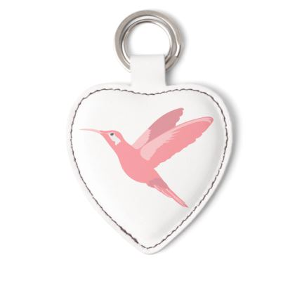 Pink Hummingbird Decorative Leather Keyring