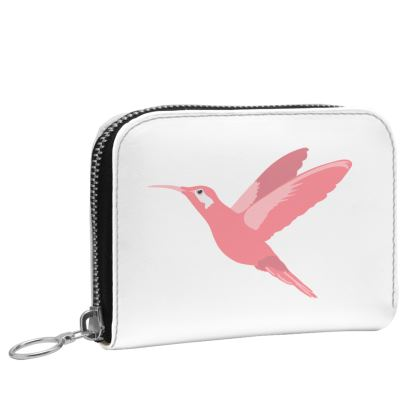 Tropical Bird Pink and White Leather Zip Purse