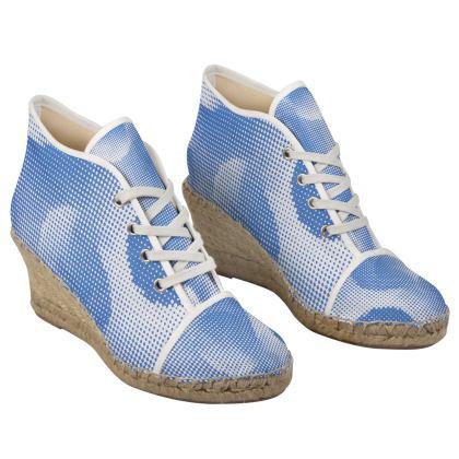 Ladies Wedge Espadrilles - Endleaves of Art. Taste. Beauty (1932) Blue Remix