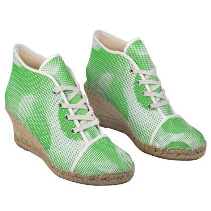Ladies Wedge Espadrilles - Endleaves of Art. Taste. Beauty (1932) Green Remix