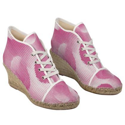 Ladies Wedge Espadrilles - Endleaves of Art. Taste. Beauty (1932) Pink Remix