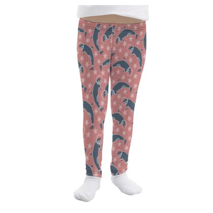 Leggings - Arctic Space Coral Whale