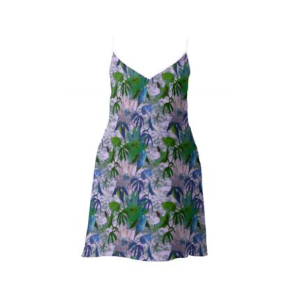 Short Slip Dress mauve, green  Passionflower  Purple Passion