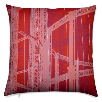 Red and White Gasometer Luxury Cushion
