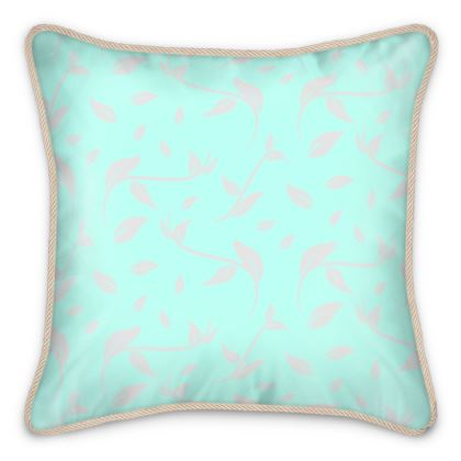 Silk Cushion- Emmeline Anne Silver/Turquoise Leaves