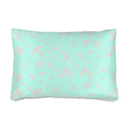 Silk Pillow Case- Emmeline Anne Silver/Turquoise Leaves