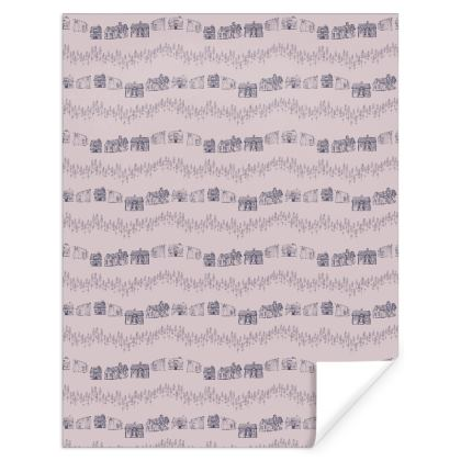 Printed Scandinavian Houses hygge Pattern Gift Wrap