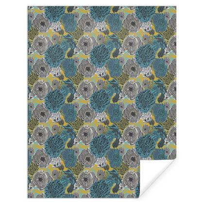 Gift Wrap Teal, Grey   Anemone   Goldfinch