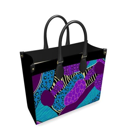 Leather Shopper Bag in Abstract Animal Print