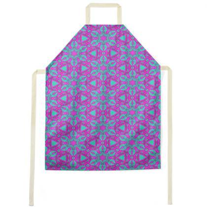 Aprons Mauve, Turquoise, [medium shown]  Geometric Florals  Pansy