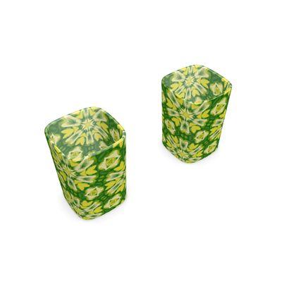 Square Shot Glass 2 Set Green, Yellow  Geometric Florals
