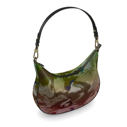Curve Hobo Bag - Honeycomb Marble Abstract 2