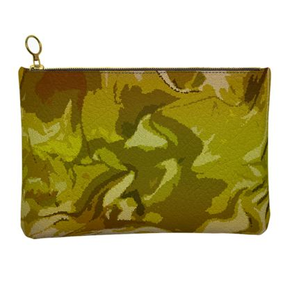 Leather Clutch Bag - Honeycomb Marble Abstract 3