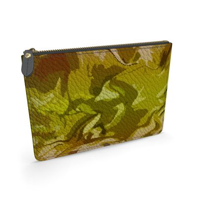 Leather Pouch - Honeycomb Marble Abstract 3