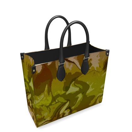 Leather Shopper Bag - Honeycomb Marble Abstract 3