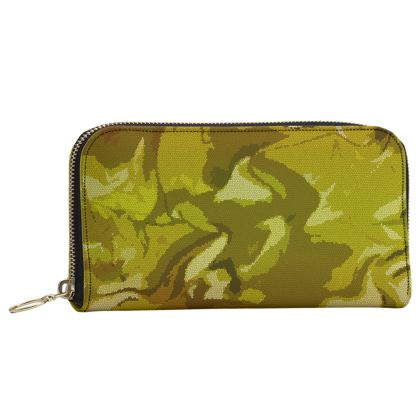 Leather Zip Purse - Honeycomb Marble Abstract 3