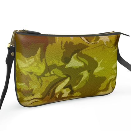 Pochette Double Zip Bag - Honeycomb Marble Abstract 3