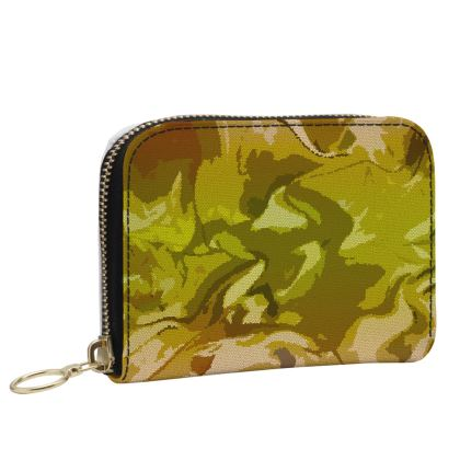 Small Leather Zip Purse - Honeycomb Marble Abstract 3