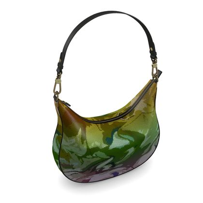 Curve Hobo Bag - Honeycomb Marble Abstract 4