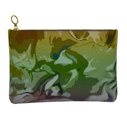 Leather Clutch Bag - Honeycomb Marble Abstract 4