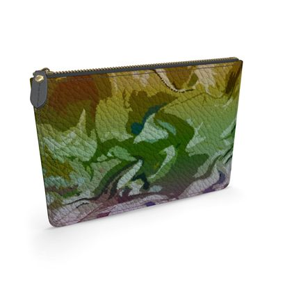 Leather Pouch - Honeycomb Marble Abstract 4