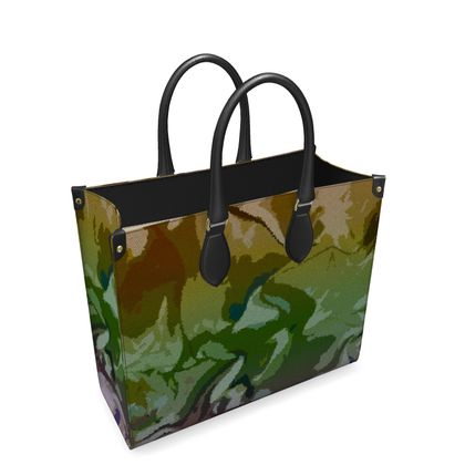Leather Shopper Bag - Honeycomb Marble Abstract 4