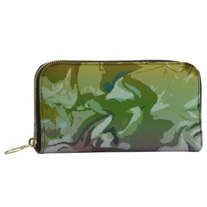 Leather Zip Purse - Honeycomb Marble Abstract 4