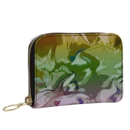 Small Leather Zip Purse - Honeycomb Marble Abstract 4