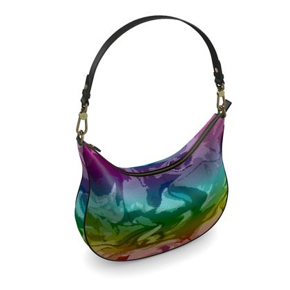 Curve Hobo Bag - Honeycomb Marble Abstract 5