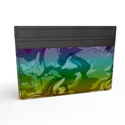 Leather Card Holder - Honeycomb Marble Abstract 5