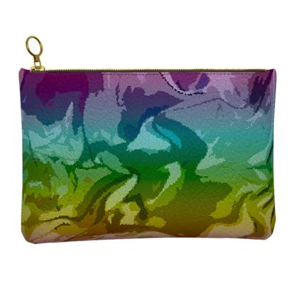 Leather Clutch Bag - Honeycomb Marble Abstract 5