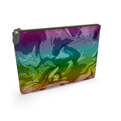 Leather Pouch - Honeycomb Marble Abstract 5