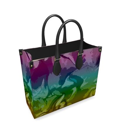 Leather Shopper Bag - Honeycomb Marble Abstract 5