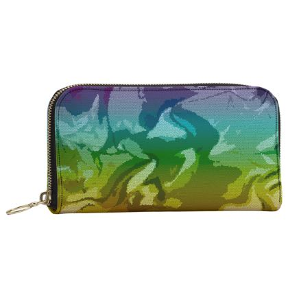 Leather Zip Purse - Honeycomb Marble Abstract 5