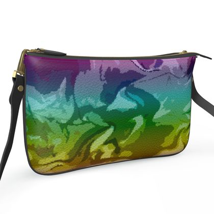 Pochette Double Zip Bag - Honeycomb Marble Abstract 5